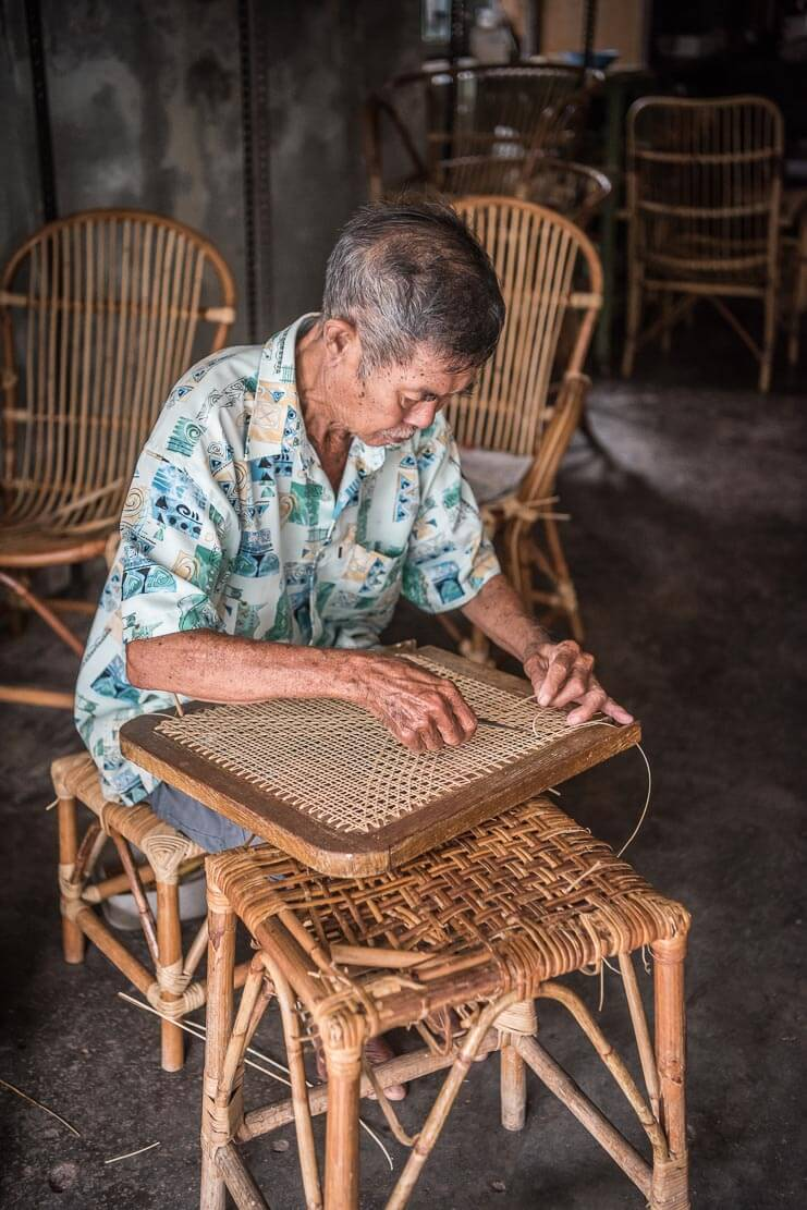 Making rattan furniture in Penang
