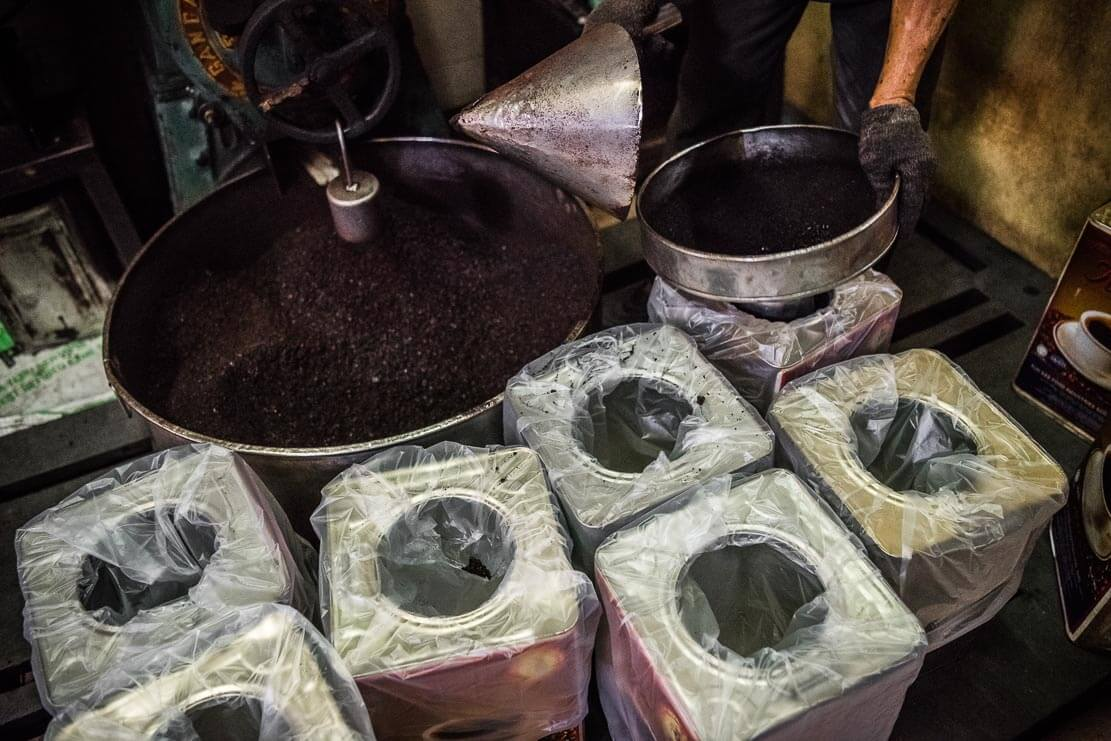 Popular Malaysian coffee being packaged