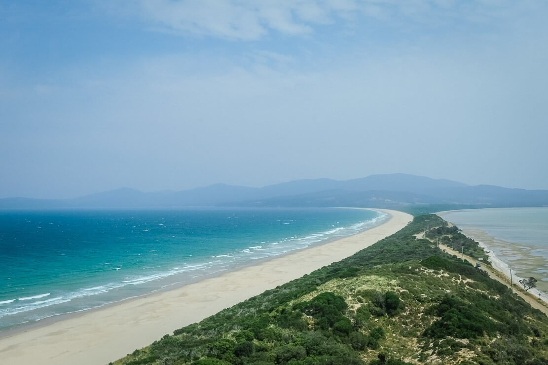View on The Neck from Truganini Lookout on Bruny Island in Tasmania
