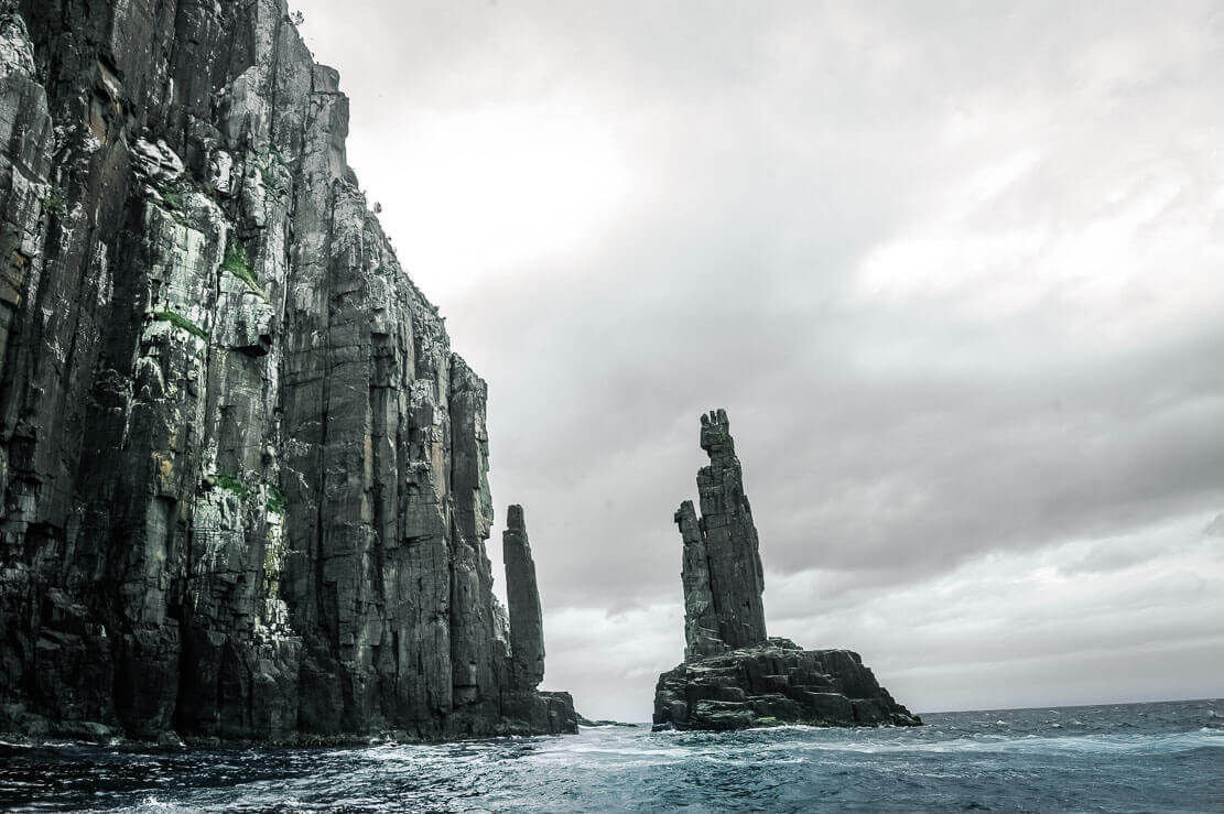 Going through The Monument on Bruny Island Cruise in Tasmania