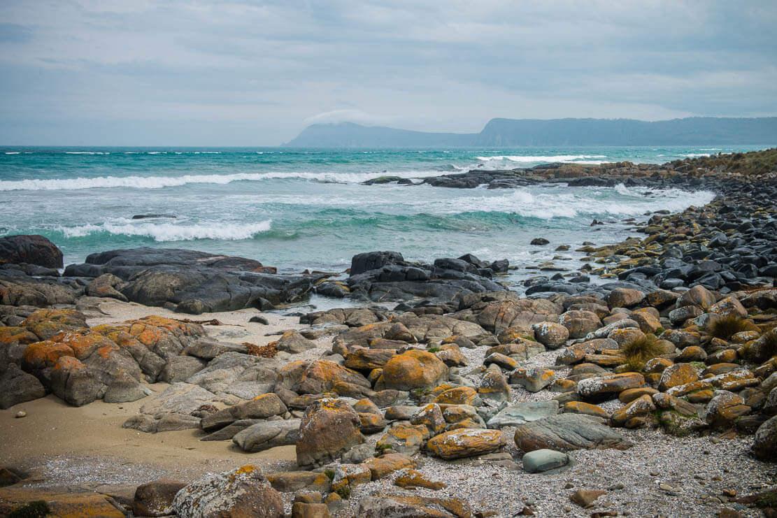 Deserted beaches of Cloudy Bay on Bruny Island in Tasmania