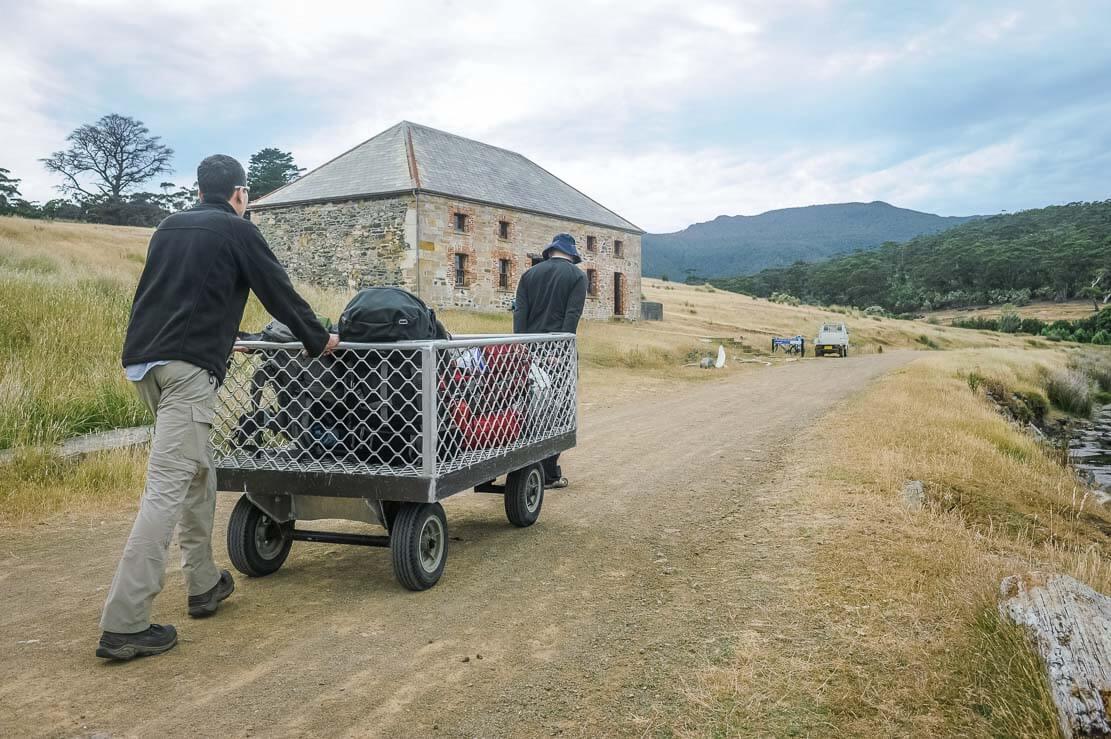 Arriving in Darlington on Maria Island in Tasmania