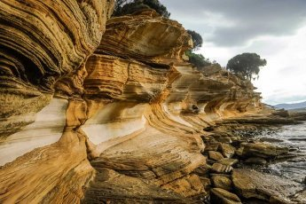 Famous Painted Cliffs on Maria Island in Tasmania