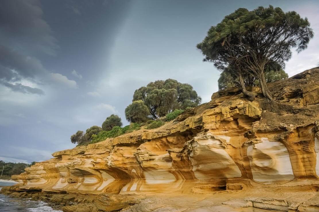 Painted Cliffs on Maria Island in Tasmania