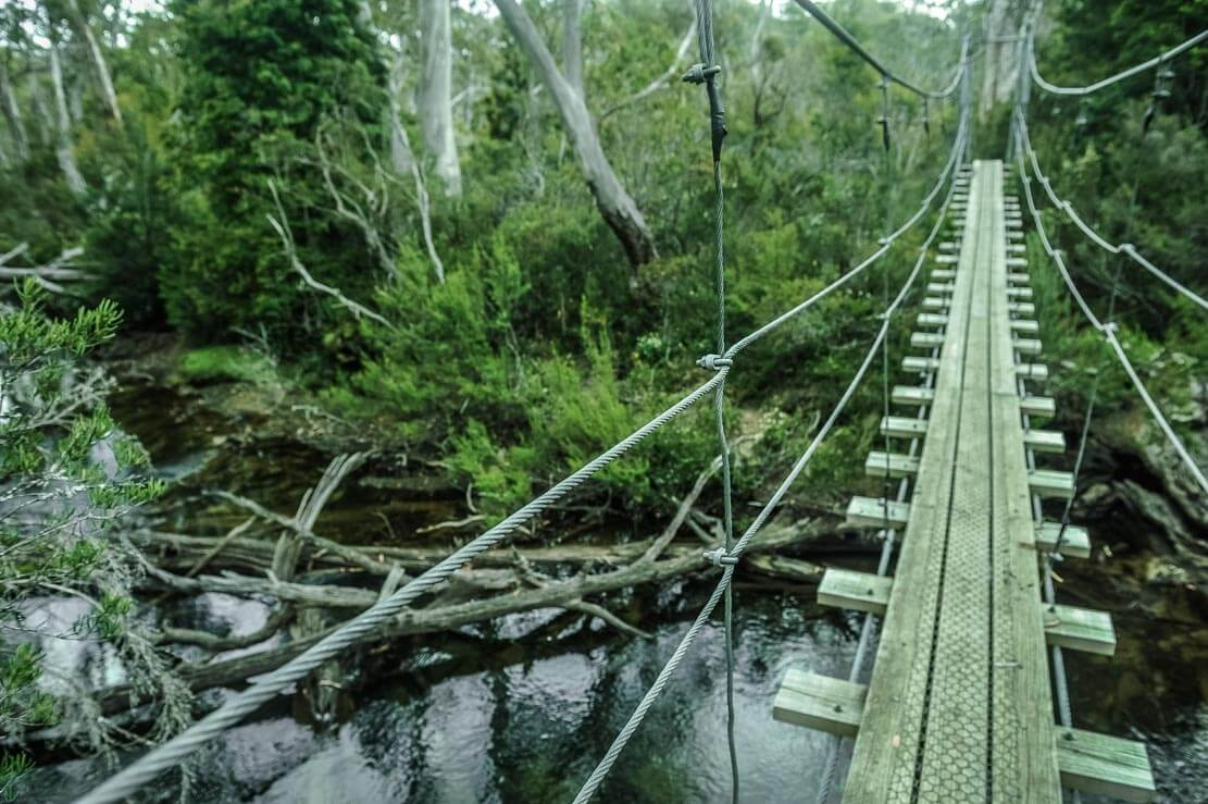 Crossing a suspended bridge our way to Pine Valley Hut