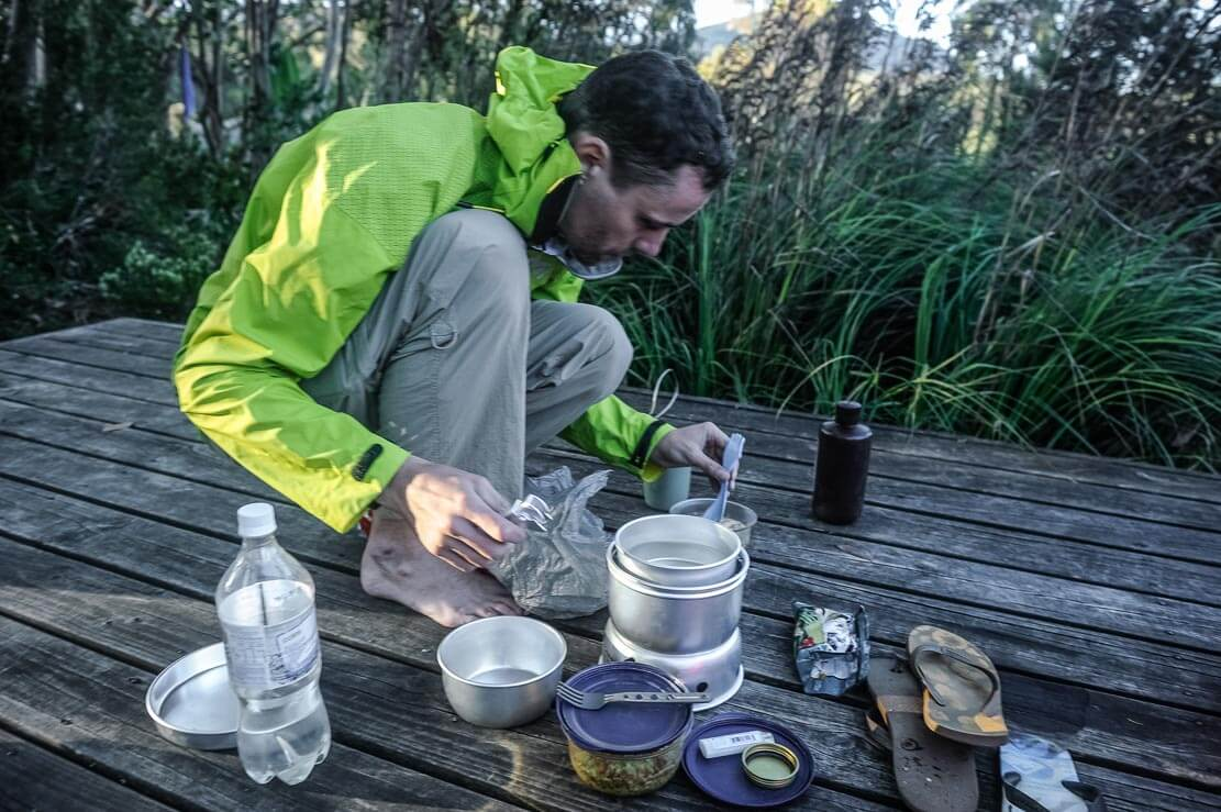 Cooking our dehydrated food at Kia Ora Hut