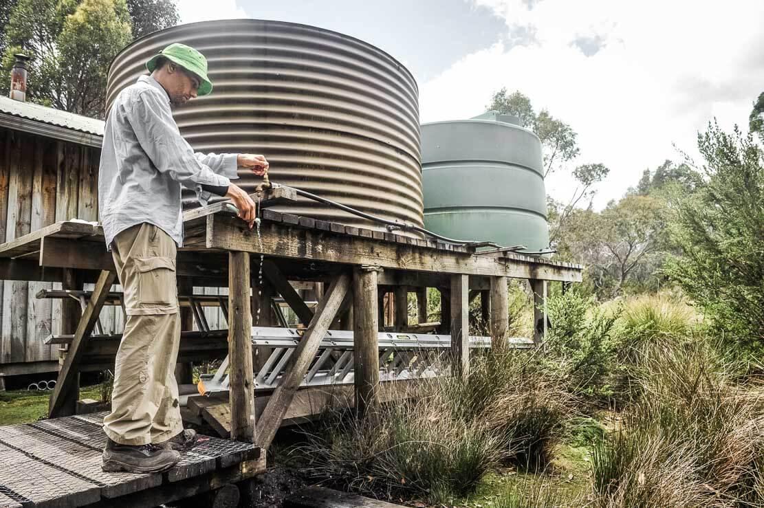Water tanks at Kia Ora Hut