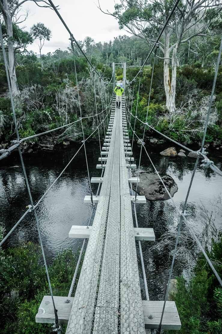 Crossing a suspended bridge on our way Pine Valley Hut to Narcissus Hut