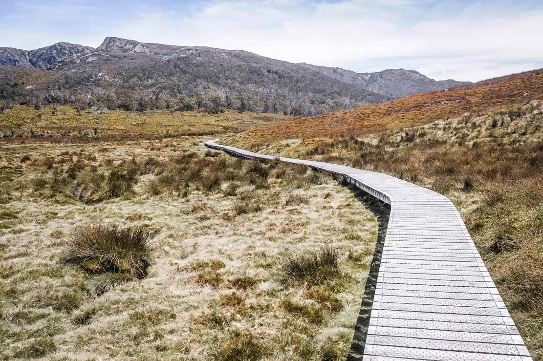 Walking in Cradle Mountain - Lake St ClairNational Park on Day 1 of Overland Track