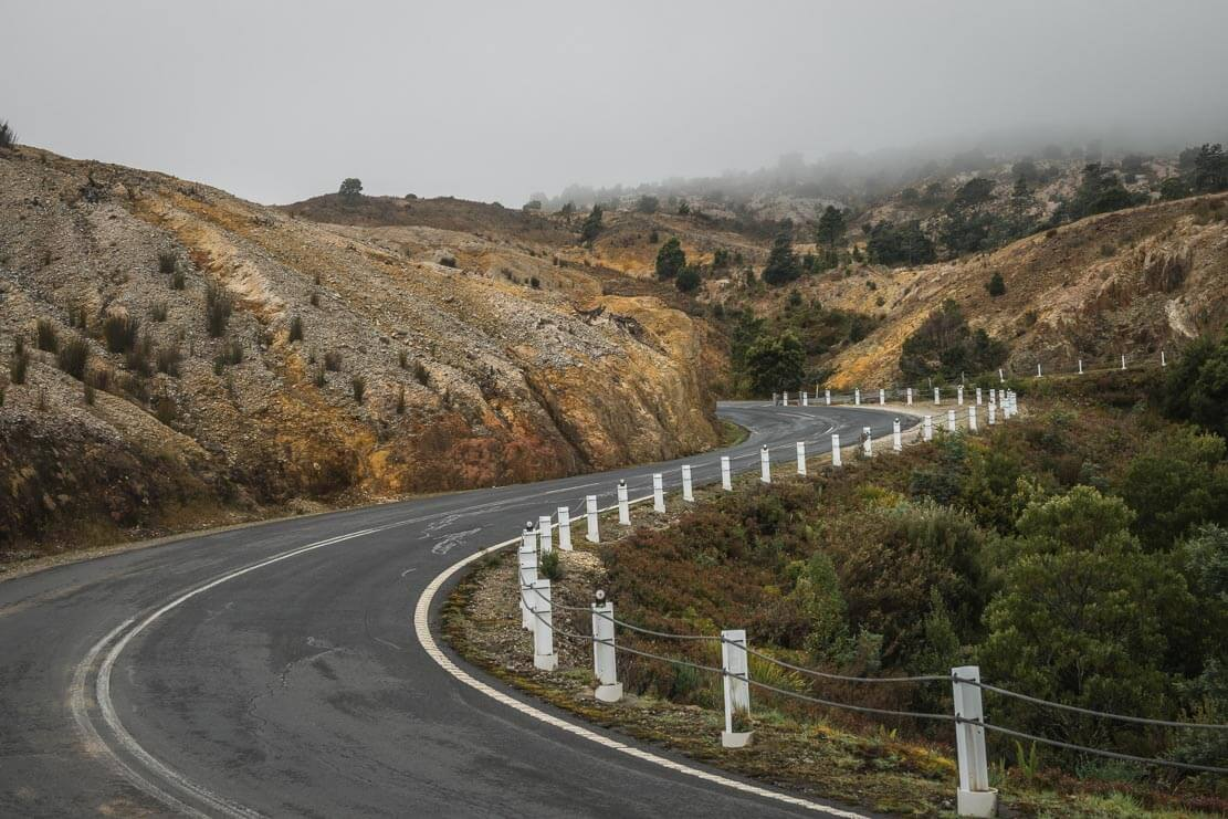 Winding roads of Queenstown on the West Coast of Tasmania