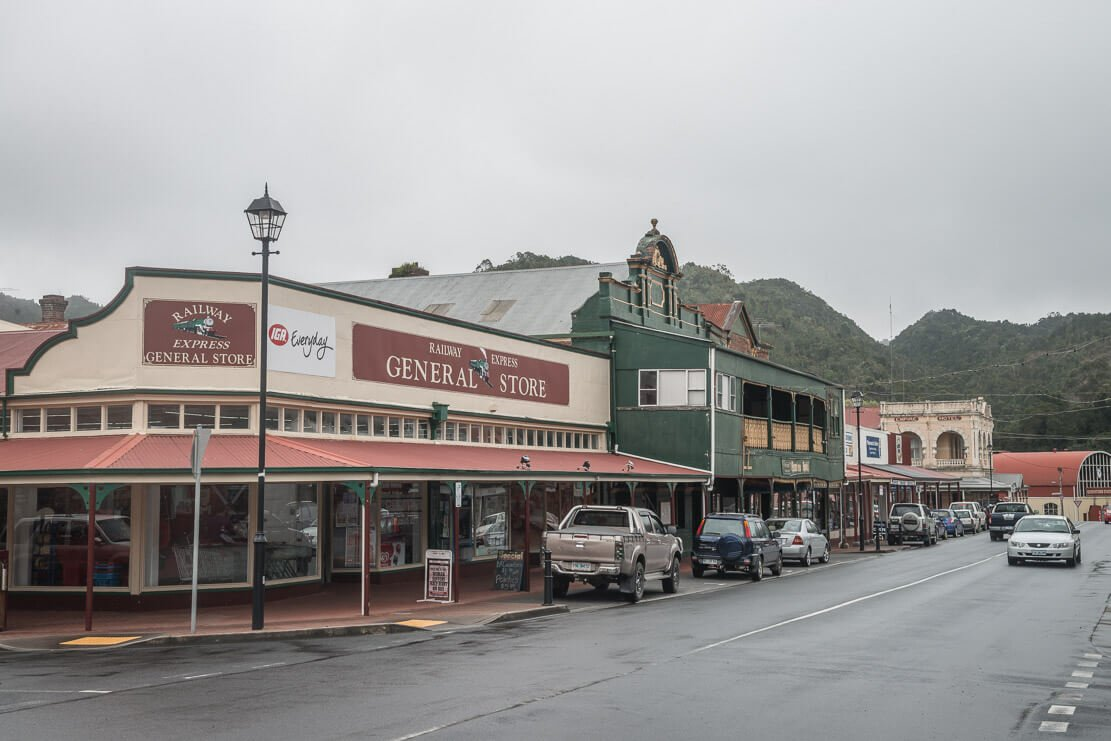 Historic mining town of Queenstown on the West Coast of Tasmania
