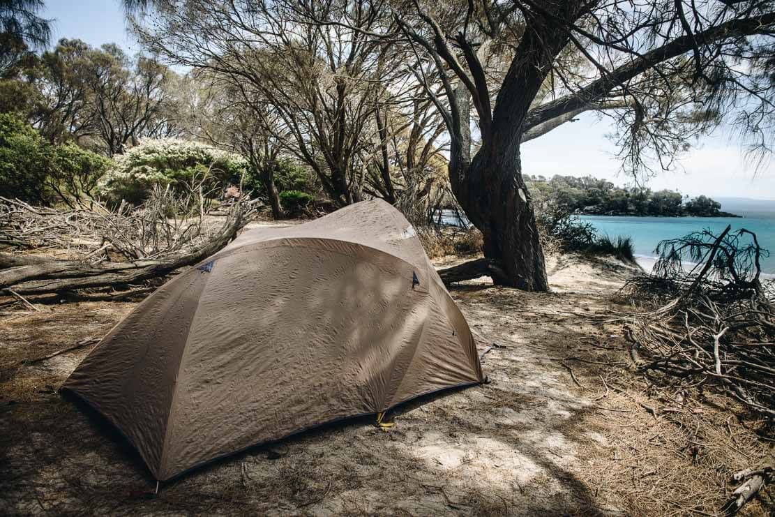 Camping on Cooks Beach in Freycinet National Park in Tasmania