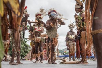 Performers from Eastern Highlands Province of Papua New Guinea at Melanesian Festival