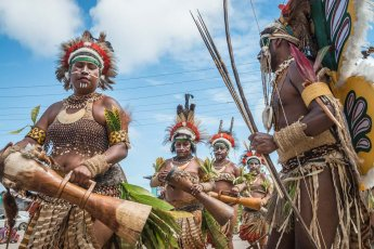 Performance by the sing sing group from Eastern Highlands Province of Papua New Guinea in Hunuabada village
