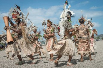 Sing sing group from Oro Province of Papua New Guinea wearing tapa, the traditional barkcloth