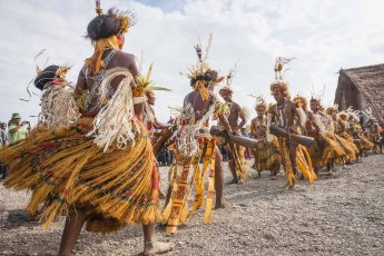 Mekeo tribesmen in traditional attire from Central Province of Papua New Guinea at Melanesian Festival