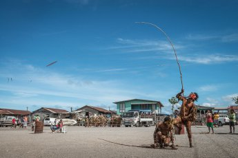 Performer in Hanuabada village, a coastal village located on the outskirts of Port Moresby