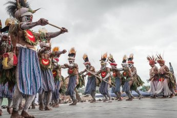Kunga warriors from Western Highlands Province of Papua New Guinea performing on stage