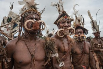 Kusare warriors from West New Britain Province of Papua New Guinea at Melanesian Festival