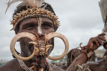 Kusare warrior from West New Britain Province of Papua New Guinea at Melanesian Festival