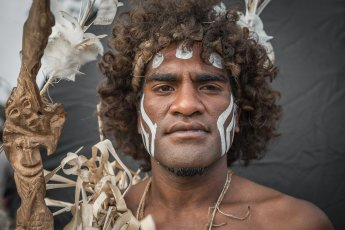 Melanesian performer at the festival