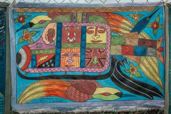 PNG painting on sale at Melanesian Festival of Arts and Culture in Port Moresby